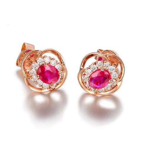 Burma 1.05 carat natural ruby Stud Earrings